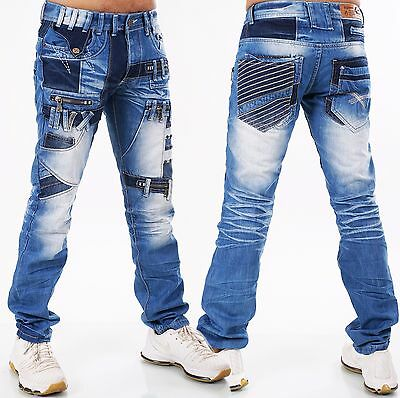 Herren Jeans Hose HIGHNESS Loose Fit Men´s Wear Patches W29 30 31 32 33 34 36 38