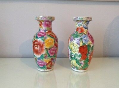 Pair Of Chinese Vases. Flower Pattern.