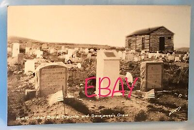 SACAJAWEA Grave Indian Burial Grounds American Flags Postcard RPPC