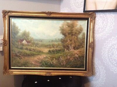 Large Oil Painting Signed Enderby. Landscape In Gold Frame