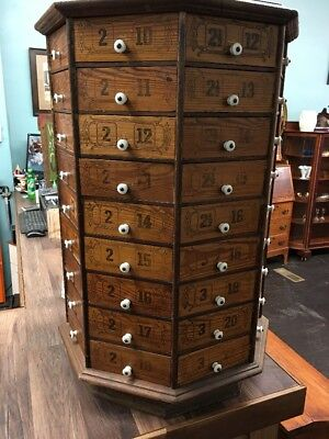 Antique Country Store Pine Bolt and Screw Cabinet