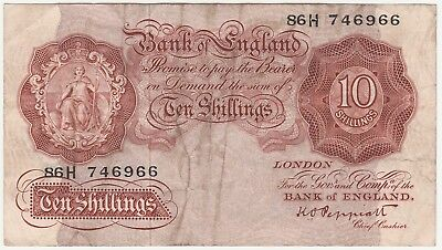 Gb Bank Of England Peppiatt 10/- Ten Shillings Note 1948 - - H Prefix Fine Space