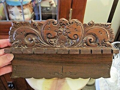 Victorian Handmade Intricately Carved Walnut Wood 10 Wall Hanging Spoons Holder