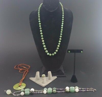 Vintage Lot 10k Gold Green Jade Diamond Jewelry Ring Earrings Necklaces