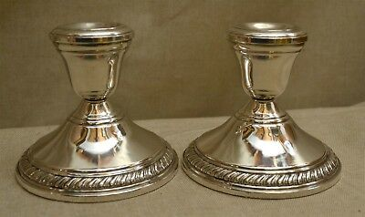 "Pr 3 1/4"" Sterling Silver Crown Hallmarked Candle Holders, Candlesticks  No Mono"