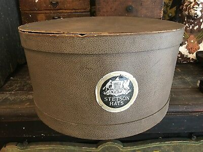 Antique Stetson Cowboy Hat Storage Box 1920's 1930's W Logo Tom Mix Pencil Brim