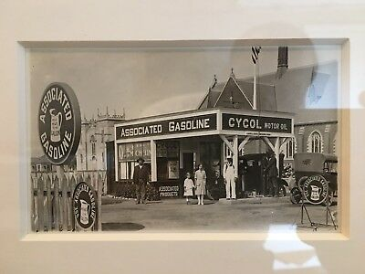 Associated Gas Cycol Motor Oil Framed Postcard Advertising W Associated Sign