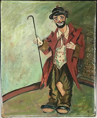 Vintage Oil Painting on Board Portrait of a Circus Clown Holding a Cane