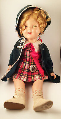 """Antique Shirley Temple Composition Doll 20"""" And Extra Dress"""