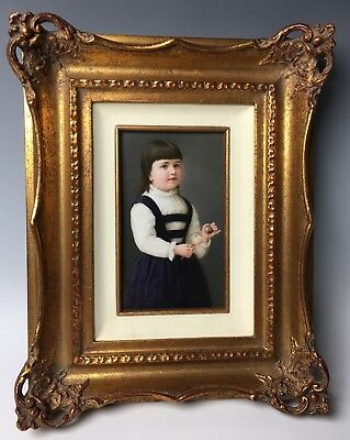 "Beautiful KPM Hand Painted Plaque ""Young Girl Playing with Toy"" Signed! C.1890"