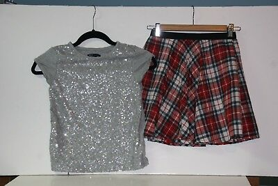 GAP KIDS girls holiday 2 piece red pleated plaid skirt gray sequin t-shirt 8