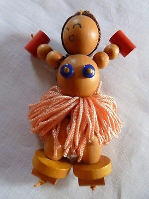 Vintage Pin of an Island Girl Made from Wood with a Pink 'Grass Skirt' Gorgeous!