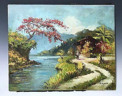 Cabin Lodge by River and Mountain Scene Landscape Oil on Canvas Painting Signed