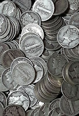 90% Silver Mercury Dimes - $5 Face Value Roll - Avg Circulated