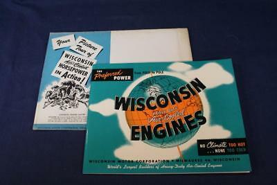 Vintage 1953 Wisconsin Heavy Duty Air Cooled Engine Brochure Milwaukee