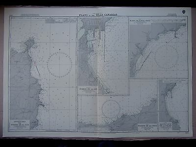 "1969 The CANARY ISLANDS Port Plans ADMIRALTY MAP Sea Chart 28"" x 41"" D74"
