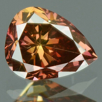 0.16 cts. BUY CERTIFIED Pear Cut SI1 Brown Pink Color Loose Natural Diamond 9394