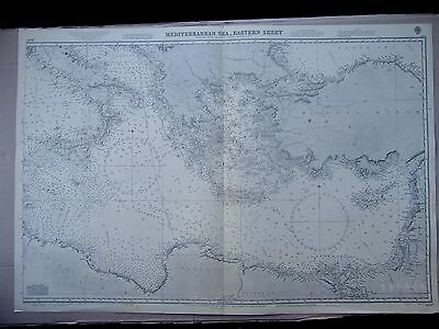 "1966 MEDITERRANEAN SEA East GREECE Cyprus TURKEY Africa MAP Chart 28"" x 41"" C88"