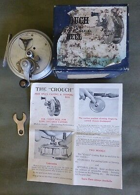 Vintage J.T. Crouch & Sons Dunolly Fly Reel Original Box and Brochure