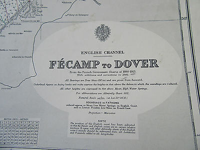 "1956 FECAMP to DOVER English Channel Navigational SEA MAP Chart 28"" x 52"""