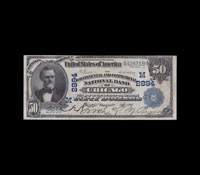 1902 $50 National Currency Date Back Chicago Very Fine