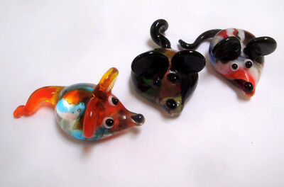 Lot 3 Miniature Hand Blown GLASS MOUSE Figurines ~ Murano? ~ Mice