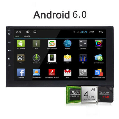 "Quad Core Android 6.0 2 Din 7"" Car Radio Stereo GPS NAV Bluetooth Wifi 3G+CAMERA"