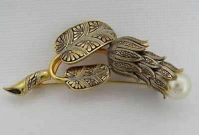 Beautiful Vintage Black Silver Gold Damascene Faux Pearl Flower Pin Brooch Spain