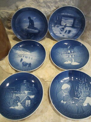 6 Royal Copenhagen Denmark Plates 1962 Mermaid1969 1972 1974 1977 1978 Christmas