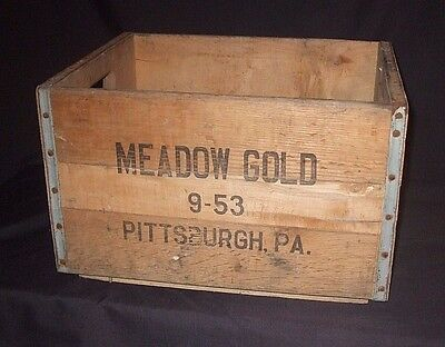 Vintage Wood Crate Box MEADOW GOLD 9-53 Pittsburgh PA