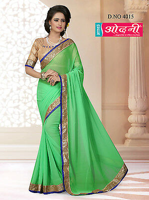 Indian Bollywood Embroidered Party Wear Green Color Georgette Designer Saree