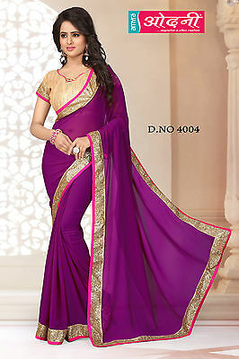 Indian Bollywood Embroidered Party Wear Magenta Georgette Wedding Saree Sari