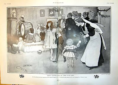 Antique Print Tommys Christmas Party Tommy Not Happy Tom Browne 1904 490Q014