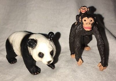 Schleich Panda Bear and Chimpanzee with Baby Animal Figure Lot