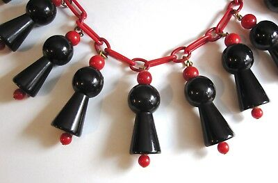 "Vintage Black & Cherry Red Bakelite Bead Necklace 16 ½"" 69G"