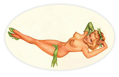 """Pin up pinup pin-up sexy retro girl oval green shoes sticker decal 5"""" X 3"""""""