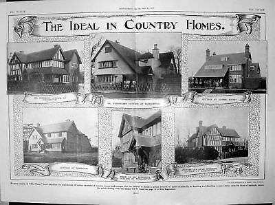 Old Print Woodhouses Cottage Roehampton Cottage Wimbledon Coombe 1906 604Q020