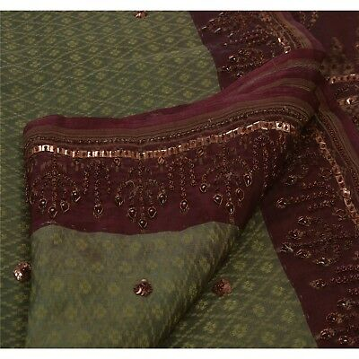 Sanskriti Antique Vintage Saree 100% Pure Organza Silk Hand Beaded