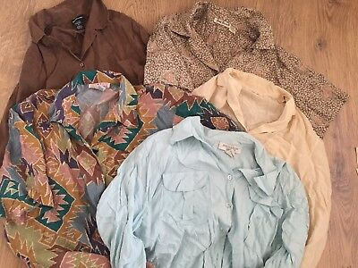 Job Lot Vintage Wholesale 5 X Vintage 100% Mixed Silk Blouses shirts Resale