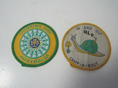 2 x Girl Guide Sew On Cloth Patches In & Out QLD Camp-a-bout + Thinking Day