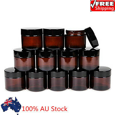 30G Amber Round Glass Jars with Inner Liners and black Lids Cosmetic Container
