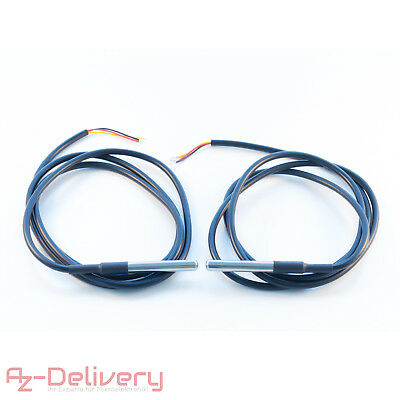 AZDelivery 2er Set 1M Kabel DS18B20 digitaler Edelstahl Temperatursensor