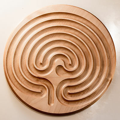 Finger-Labyrinth, klassisches Labyrinth als Fingerlabyrinth, Holz