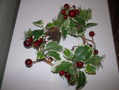 Candle Ring Christmas Decoration Red Berry/holly Fits Pillar Candle