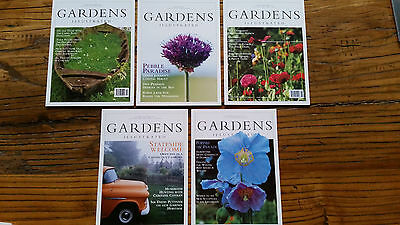 GARDENS ILLUSTRATED - 5 postcards from 1995 - MINT UNMARKED CONDITION