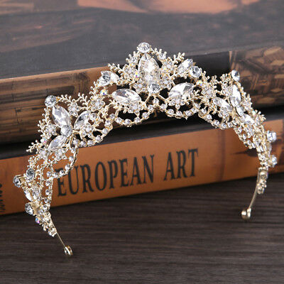 AU Crystal Baroque Princess Tiaras Wedding Crown Bride Coronet Bridal Headband