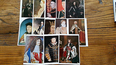ENGLISH KINGS AND QUEENS - 13 vintage National Portrait Gallery postcards