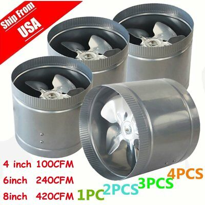 "LOT 4 X 4"" 6"" 8"" inch Inline Duct Booster Fan Ventilation Exhaust Air Blower SK"
