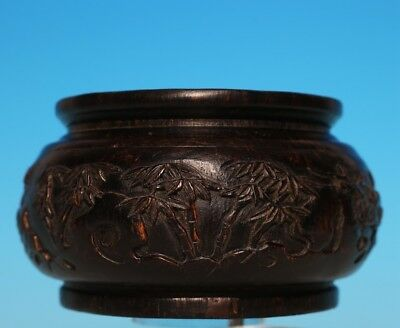 Rare Old Chinese Hand Carved glaze Bamboo Bottle Pot Mark QianLong US290