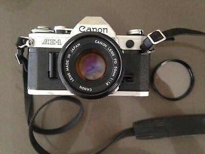 Canon AE-1 35mm SLR Film camera & FD 50mm 1:1.8 Lens. Very good condition